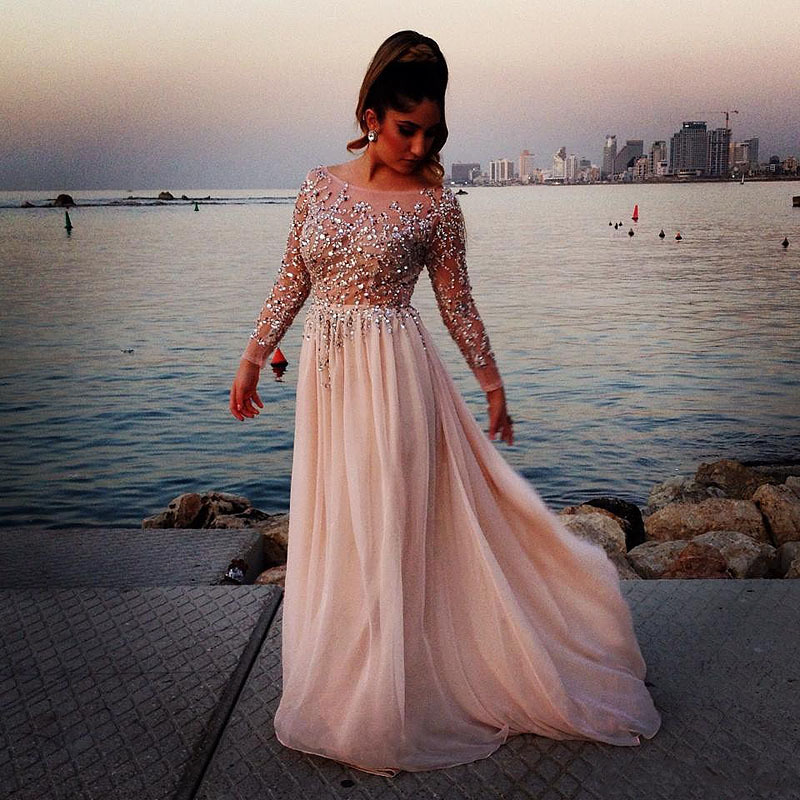 2018 Beading Sequins Pink Chiffon Long Evening Party Gown Vestido De Festa Longo Long Sleeve Prom Mother Of The Bride Dresses
