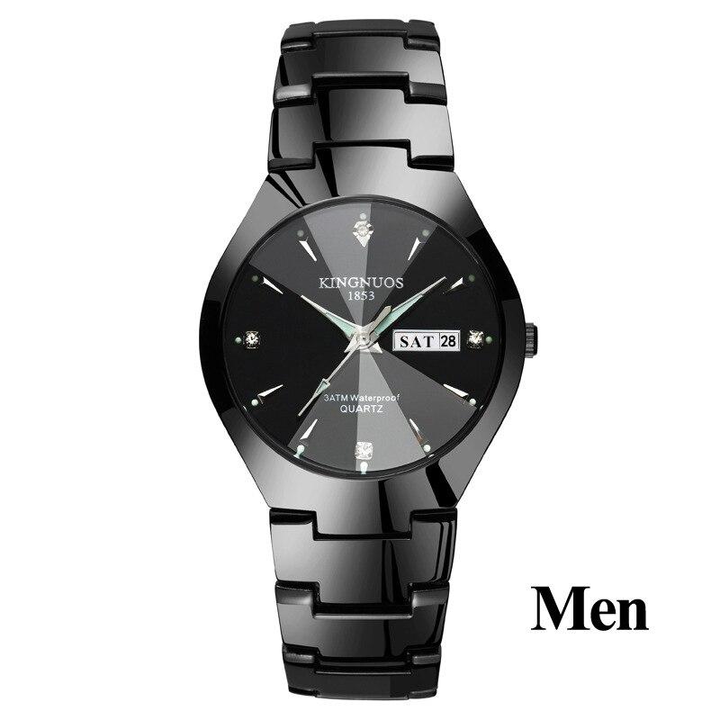 Часы для влюбленных Роскошные Кварцевые наручные часы для мужчин и женщин Hodinky Dual Calender Week steel Saat Reloj Mujer Hombre парные часы - Цвет: Men Black Black