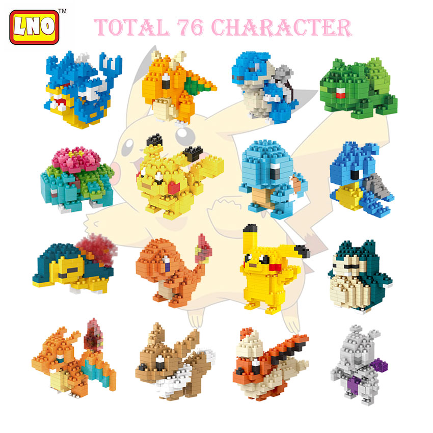 76 Styles Plastic Building Blocks Toy Anime Pokeball Pikachu Figures Diamond Block Kids Adult Bricks Pocket Toys For Children