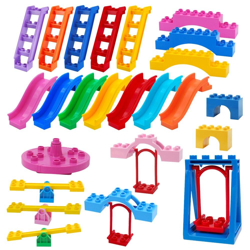 Blocks Amusement Park Ladder Toy Swings Accessory Large Particle Carousel City Building Child Bricks DIY Children's Toys Gift