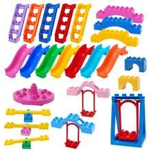 Duplos blocos parque de diversões escada balanço acessório grande partícula carrossel cidade construção criança tijolos duplo diy brinquedos das crianças