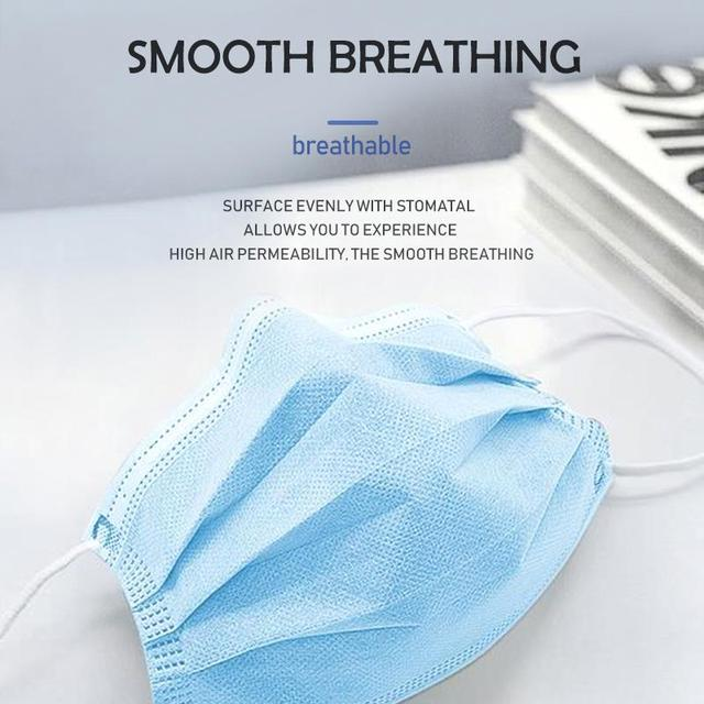 Top Quality Disposable Mask 50 Pcs 100Pcs 3 Layer PM2.5 Filter Nonwoven Breathable Anti Pollution Flu Hygiene Face Mouth Masks 2