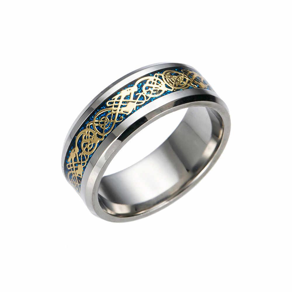 Joondshe Zwart Gouden Draak Tungsten Carbide Titanium Stalen Ring Trouwringen Roestvrij Blauw Voor Mannen Vrouwen Sieraden Wedding Ring