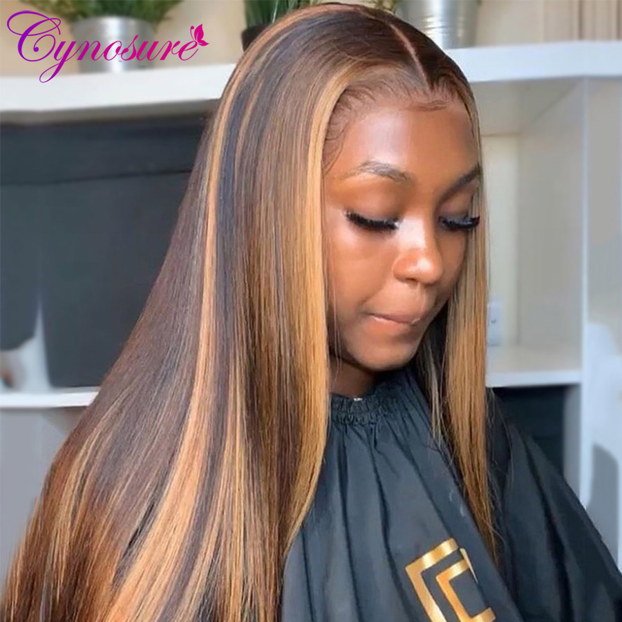 Cynosure 4x4 zamknięcie koronki ludzkich włosów peruka dla kobiet brazylijski prosto 13x4 koronki przodu włosów ludzkich peruk 150% gęstości Remy włosów