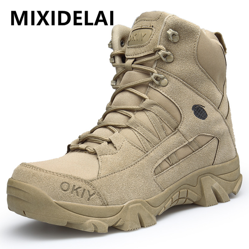 2020 New Footwear Military Tactical Mens Boots Special Force Leather Desert Combat Ankle Boot Army Men's Shoes Plus Size 39-46