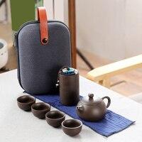 ELEG-طقم شاي الكونغ فو السيراميك المحمولة لمجموعة كوب للسفر المنزلية