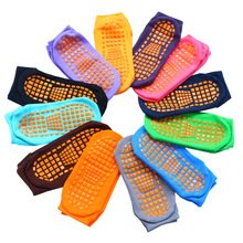 Trampoline socks adult & child Indoor sports socks pvc rubber points anti-slip floor socks women cotton yoga socks Foot massage цена в Москве и Питере