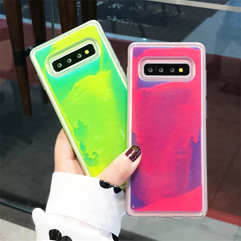 Halocase Luminous Neon Sand Cover For Samsung Galaxy S8 S9 S10 Plus Note 10 8 9 Glow In The Dark Liquid Glitter Quicksand Cases