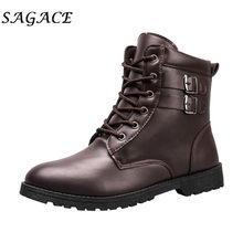 SAGACE Shoes men Leather motorcycle boots plus size vintage high top boots square heels Outdoor Sneakers Anti-Slip Chelsea boots(China)