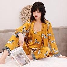 3 шт., женские пижамные комплекты с принтом зебры