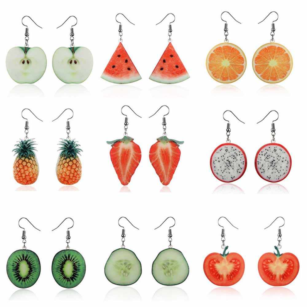 Akrilik Lucu Buah Anting-Anting Strawberry Pine Apple Tomat Kiwi Orange Mentimun Naga Apple Pine Apple Buah Anting-Anting Cantik Hadiah