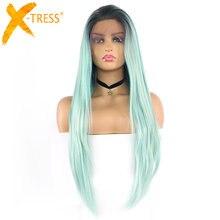 Perruque synthétique longue et lisse avec frontal en dentelle pour femmes noires, postiche avec cheveux de bébé, ombré vert, 13x4 pouces, perruque tendance