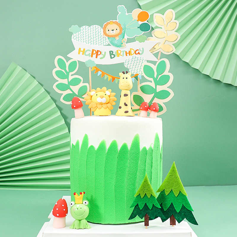 decoration de gateau avec des animaux theme de jungle lion girafe grenouille grenouille feutre animal de la foret decoration de reception cadeau