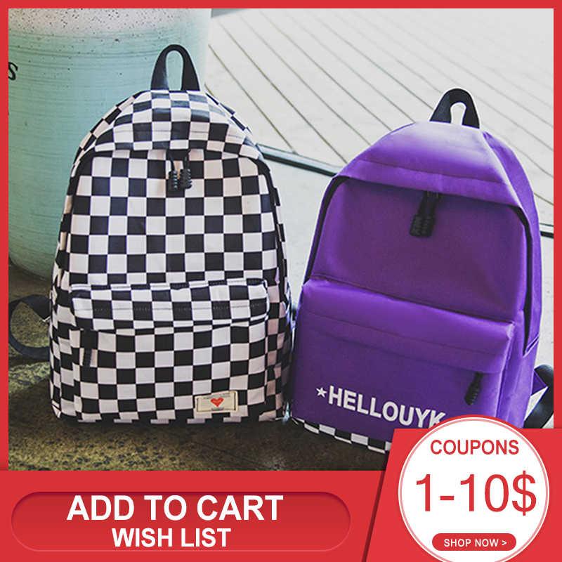 Joker torby płócienne na co dzień moda Student nastolatki plecak na ramię 2020 Plaid plecak z suwakiem kieszonki na telefon komórkowy torby szkolne
