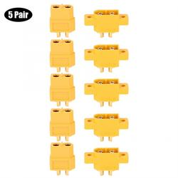 5 Pair XT60E-M Mountable XT60 Male Plug Connector for RC Model Multicopter Multicopter Connector DC 500V
