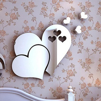 2021 decoration vintage 3D Mirror Love Hearts Wall Sticker Decal DIY Home Room Art Mural Decor Removable декор дома новый год image