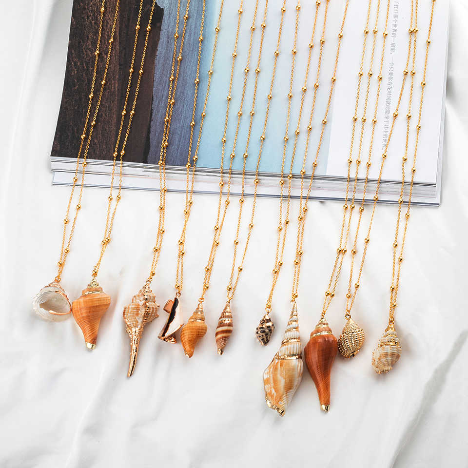 Богемский Браслет из прородного белого камня Cowrie Seashell морской оболочки кулон ожерелья для женщин Мода 2019 летние пляжные украшения Аксессуары