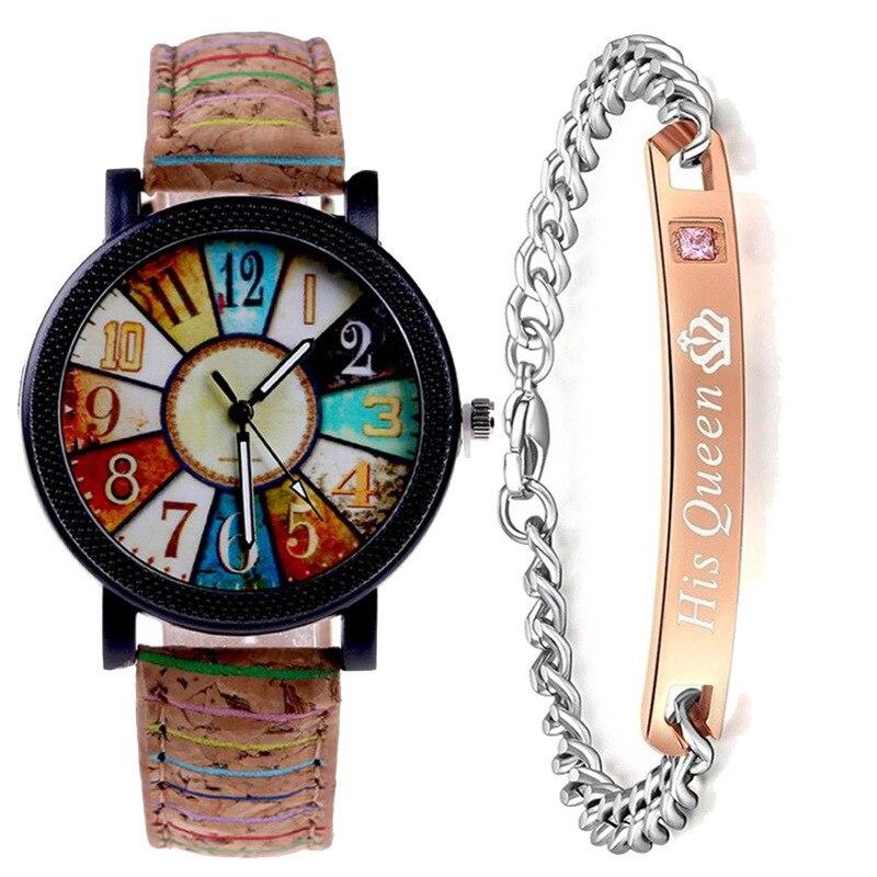 Ms + Bracelet Watches Flower Surface Grain Wheel Watches Retro Stripe Pattern Leather Watches Wristwatches