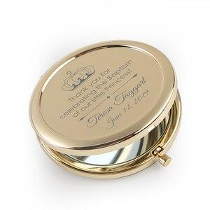 Image 3 - 20pcs Personalizzato Battesimo Favore Specchio Della Tasca Oro Specchio Compatto Prima Comunione Souvenir Battesimo Battesimo Regalo Per Gli Ospiti