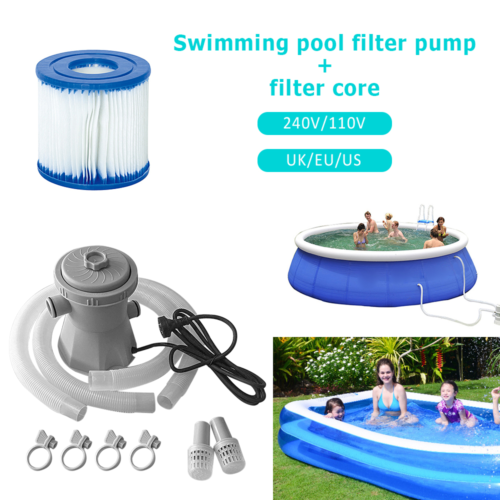 US Plug Pool <font><b>Pump</b></font> <font><b>110V</b></font> Electric Swimming Pool Filter <font><b>Pump</b></font> Paddling Pool <font><b>Pump</b></font> <font><b>Water</b></font> Cleaner Swimming Pool <font><b>Pump</b></font> And Filter Kit K image