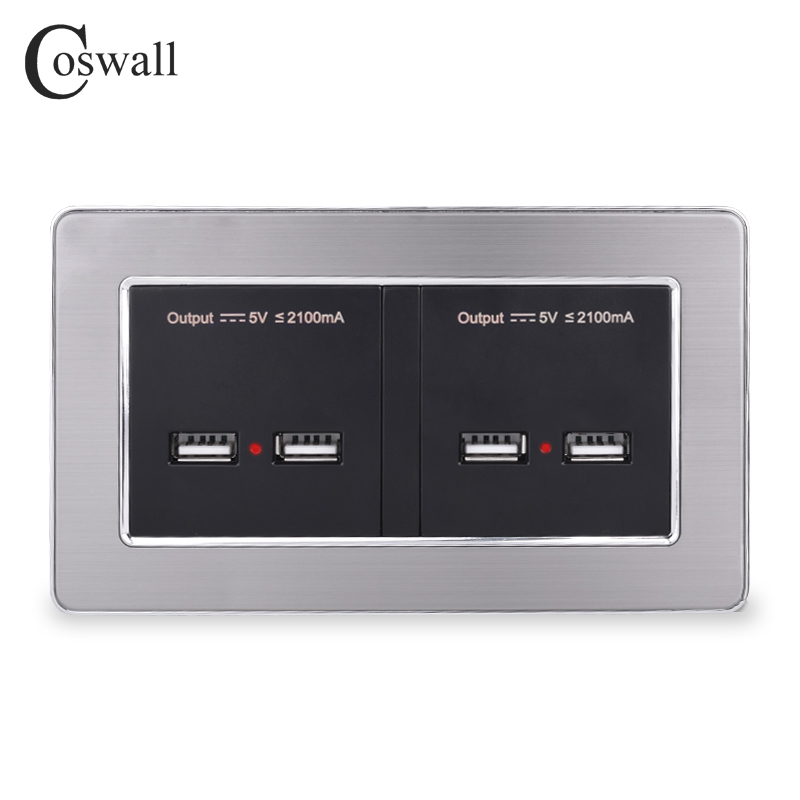COSWALL Wall Socket 4 USB Smart Induction Fast Charge Port For Mobile LED Indicator Stainless Steel Panel
