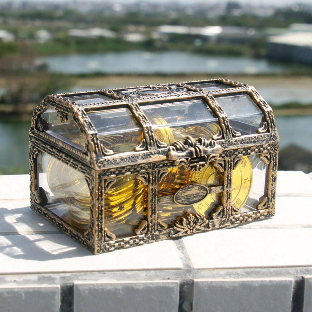Caixa de armazenamento de plástico recipiente de dinheiro brinquedos transparente pirata anime brinquedos para crianças pirata cristal gem tesouro caixa de brinquedo figuras