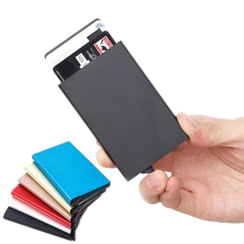 Quality Stainless Steel Credit Card Holder Men Slim Anti Protect Travel ID Cardholder Women Rfid Wallet Metal Case Porte Carte 2