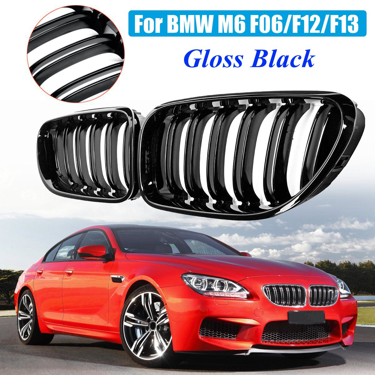 Car Front Kidney Grill Bumper Grill Double Slat Line Gloss Black For BMW M6 640i 650i F06 F12 F13 2012 2013 2014 2015 2016 2017