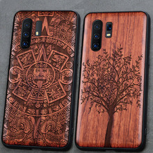 3D Carved Wood Case For vivo X30 Pro Tree wooden Pattern Embossment carve Cover