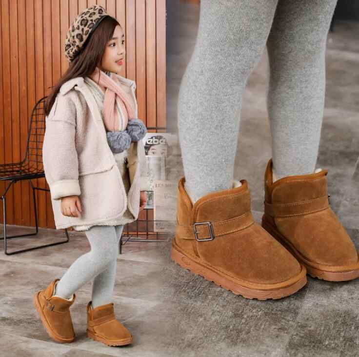 Brand Baby Snow Boots For Boys  Girls Kids Warm Fur Boots Soft Shoes Cute Children Leather Australia Shoes