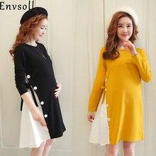 Envsoll nowa M 2XL odzież ciążowa jesień z długim rękawem bawełniana sukienka ciążowa czarna żółta ciąża odzież dla ciężarnych kobiet