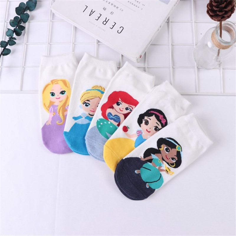 Summer Fashion Cute Women Boats Socks Mermaid Princess Anna Snow White Lovely Cotton Kawaii Korean Harajuku Happy Funny Socks