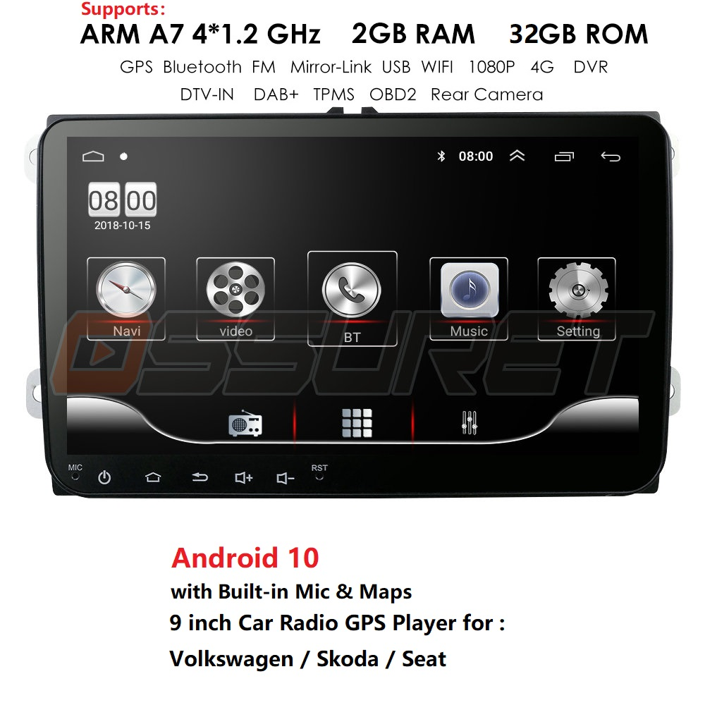 2DIN Android 9 Redio <font><b>Car</b></font> DVD Player For <font><b>Seat</b></font> <font><b>Altea</b></font> <font><b>Leon</b></font> Toledo Volkswagen Passat Skoda Series GPS 9 Inch Stereo Audio Navigation image