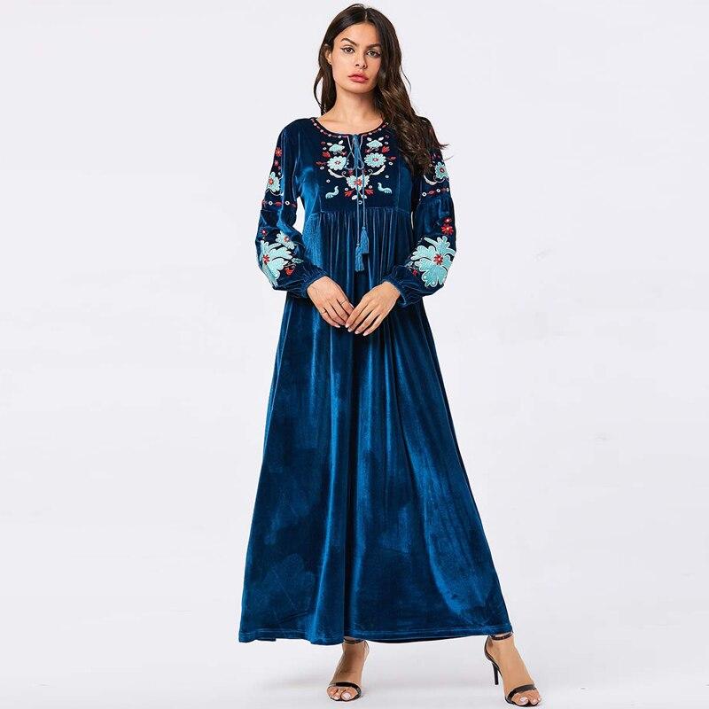 Winter Vestidos Arabe Velvet Abaya Turkey Islamic Arabic Long Hijab Muslim Dress Caftan Dubai Kaftan Tesettur Elbise Robe Longue