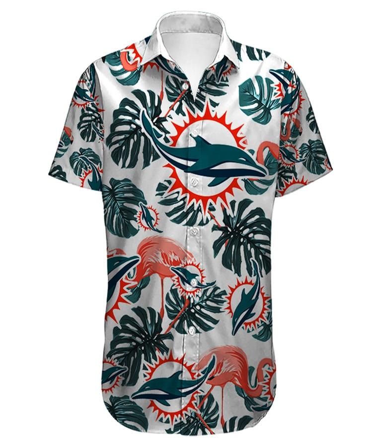 Summer Casual Men Short Sleeve Miami Stand Collar Loose 3d Printing Dolphins Hawaiian Shirt Quick Dry Beach Clothing