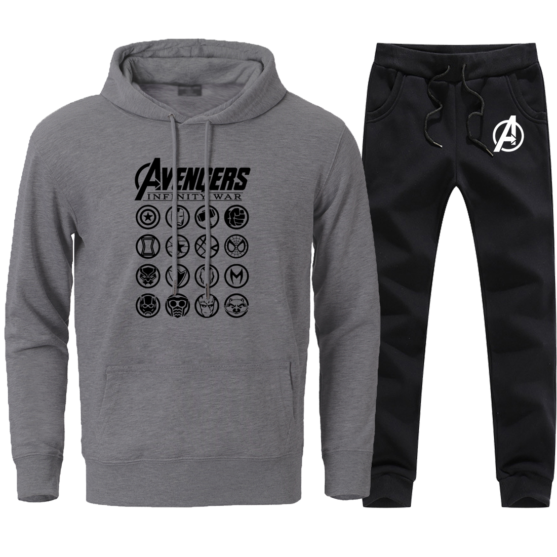 Fashion The Avengers Print Sweatshirts Mens 2 Pieces Streetwear Sweatpants Sets 2020 Man Brand Hip Hop Pants+Hoodies Black Sets