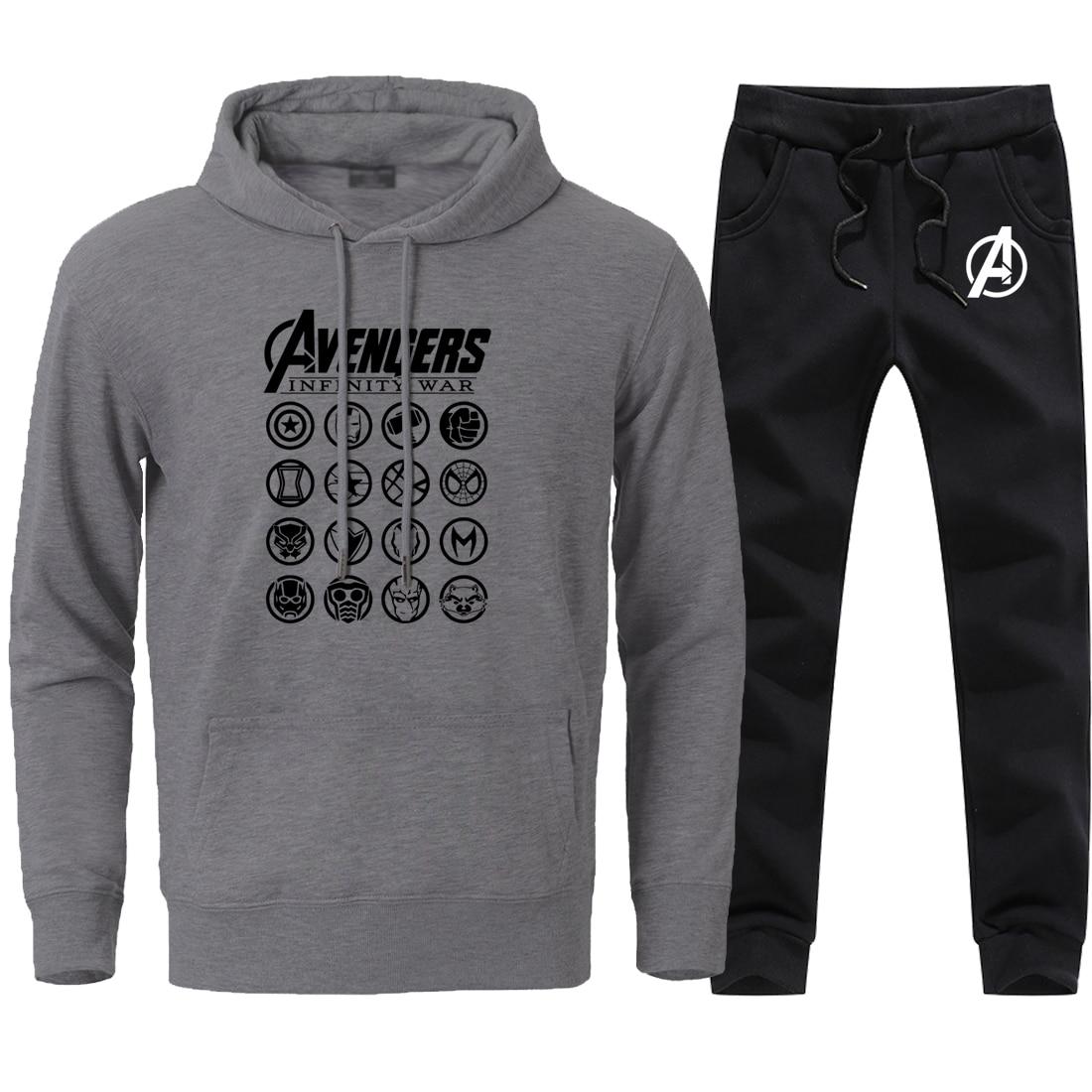 Fashion The Avengers Print Sweatshirts Mens 2 Pieces Streetwear Sweatpants Sets 2020 Man Brand Hip Hop Pants+Hoodies Black Sets