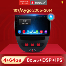 Junsun v1 pro 2g + 32g android 10 para peugeot 107 citroen c1 toyota aygo 2005 - 2014 rádio do carro reprodutor de vídeo multimídia gps dvd
