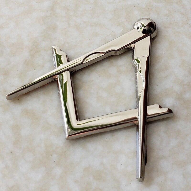 Masonic Master Mason Square & Compass Cut Out Car Auto Emblem Silver Metal