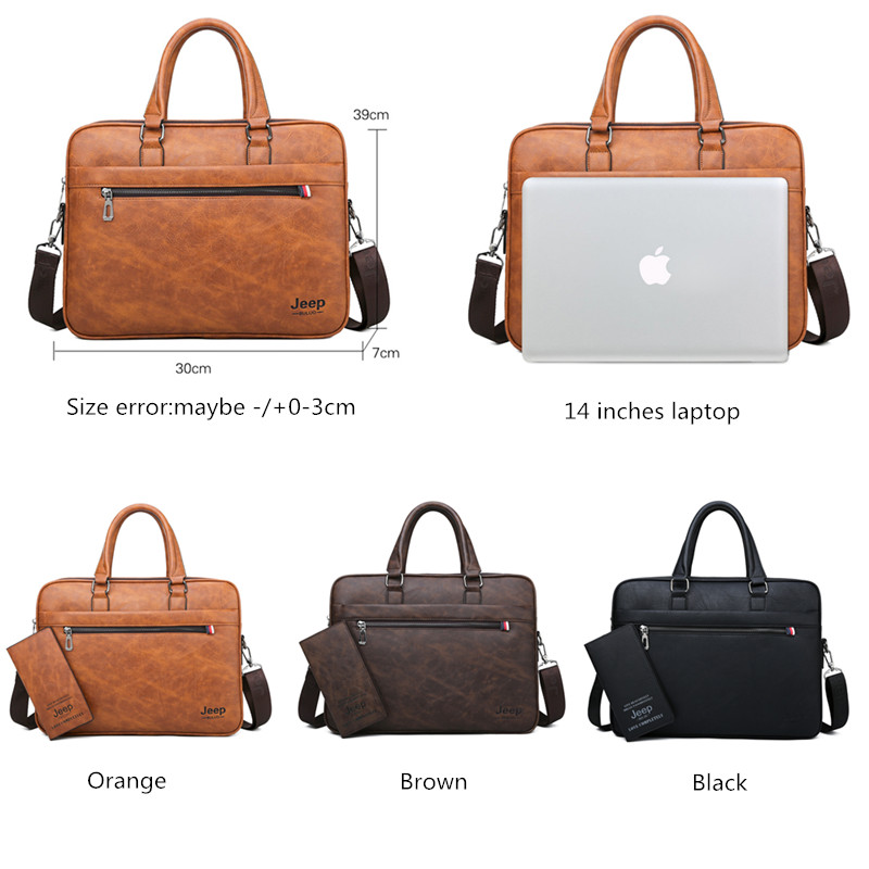 JEEP BULUO High Quality office Business Leather Shoulder Messenger Bags Famous Brand Men's Briefcase Bag  Travel 14'Laptop Tote