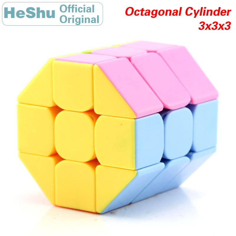 HeShu Octagonal Column Cylinder 3x3x3 Magic Cube 3x3 Speed Twisty Puzzle Brain Teasers Challenging Intelligence Educational Toys