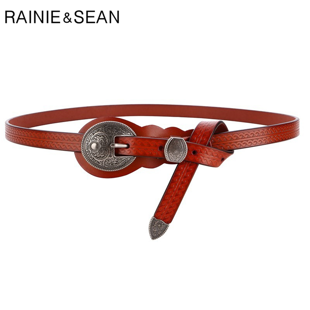 RAINIE SEAN Vintage Belts for Women Cowskin Waist Belt Real Leather Brown Rivet High Quality Brand Women Belt 105cm 110cm 115cm