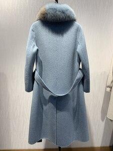 Image 2 - Oftbuy 2020 novo casaco de pele real natural gola de pele de raposa jaqueta de inverno feminino lã misturas fino longo outerwear cinto senhoras streetwear