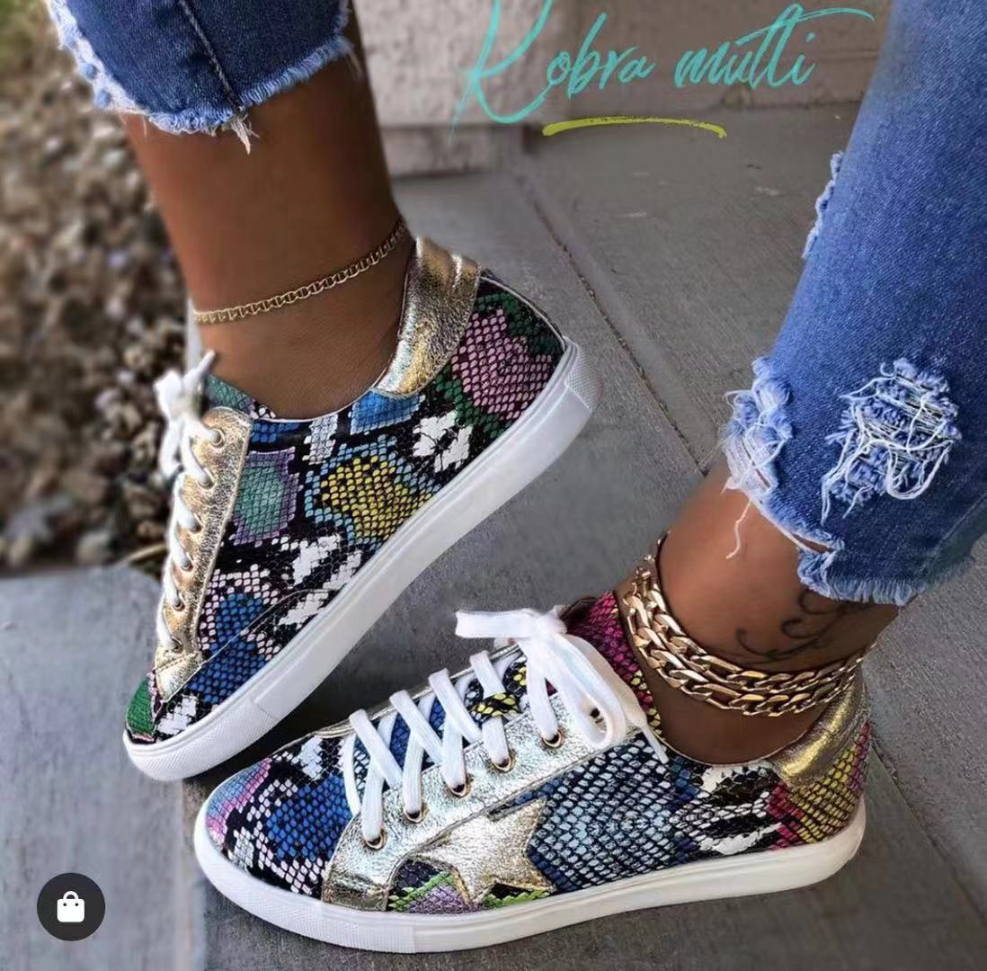 Woman Shoes Sneakers Vulcanized-Shoes Lace-Up Walking-Footwear Snake-Printing Female title=