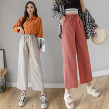 Casual Cotton Linen Pants Women Spring High Waist Wide Leg Pants Summer Office Band Palazzo Trousers Female Red Loose Pants(China)