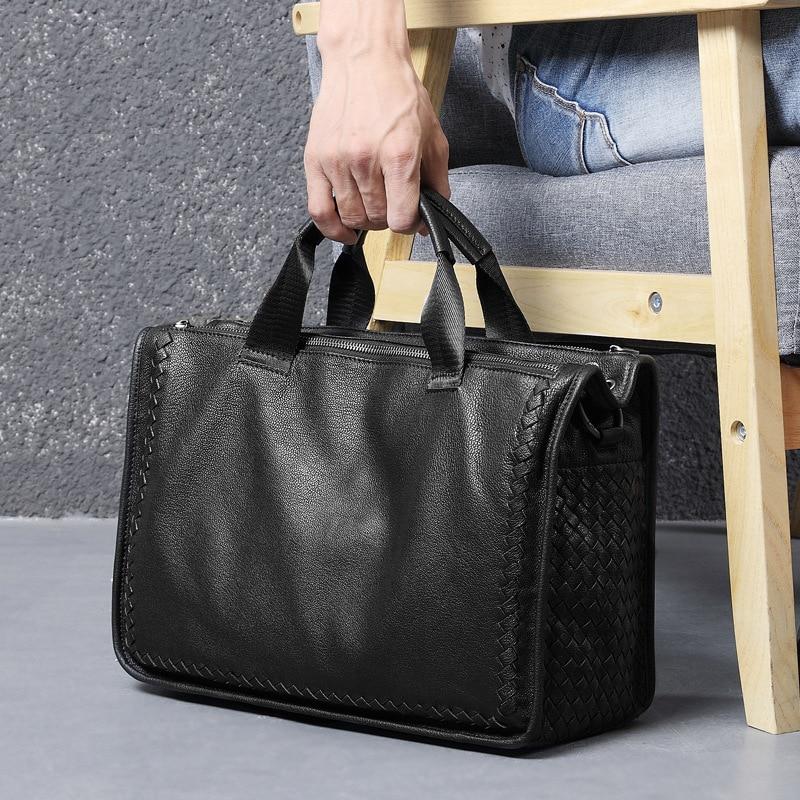 Fashion Genuine Leather Bag Sheepskin Business Men Messenger Bags Luxury Brand Men Briefcases New Designer Male Laptop Handbag