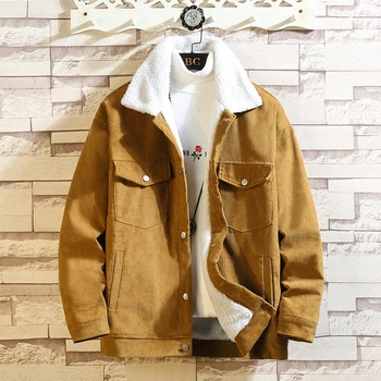 2019 Winter Lamb Wool Coat Man Increase Fertilizer Enlarge Code Solid Color Cotton Winter Clothes Increase Down Keep Warm Loose