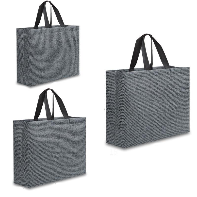 Women Fabric Non-woven Shopping Bag Reusable Foldable Eco Tote Bag Large Capacity Waterproof Durable Handbag Grey Grocery Bags