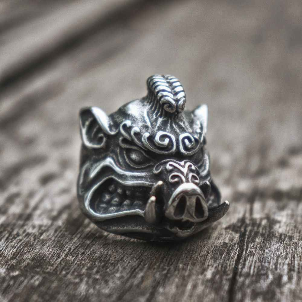 EYHIMD dzik srebrny ze stali nierdzewnej mężczyzn pierścienie Sus Scrofa pierścień motocyklisty biżuteria dla zwierząt