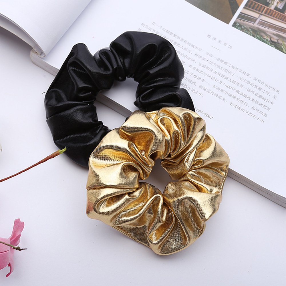 2020 New Arrival Women Faux Leather Elastic Hair Ties Girls Hairband Rope Ponytail Holder Scrunchie Gold Black Hair Accessories